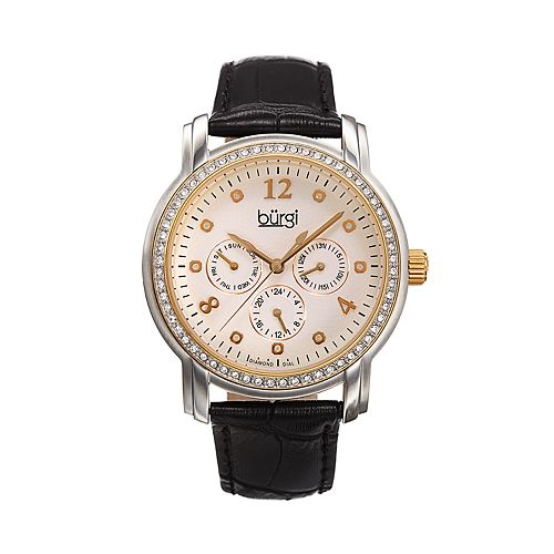 burgi Women's Crystal Accent Leather Watch