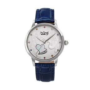 burgi Women's Peacock & Heart Crystal Accent Leather Watch