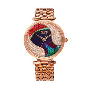 burgi Women's Peacock Crystal Accent Stainless Steel Watch