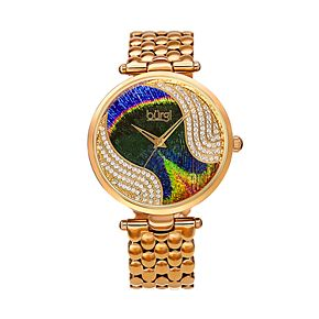 burgi Women's Peacock Crystal Accent Watch