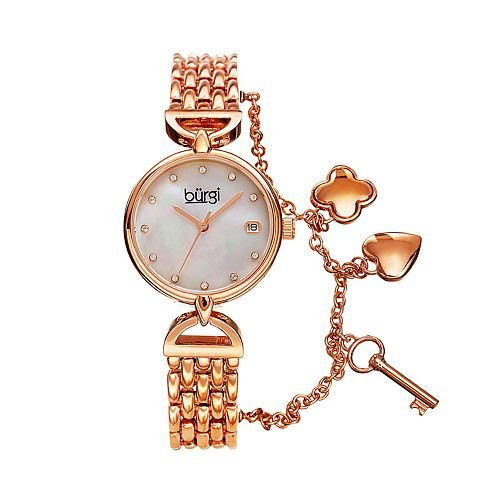 burgi Women's Crystal Accent Key & Heart Charm Watch