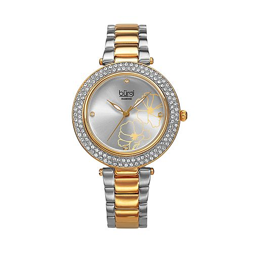 burgi Women's Diamond Accent Two Tone Stainless Steel Watch