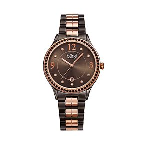 burgi Women's Crystal Accent Two Tone Stainless Steel Watch