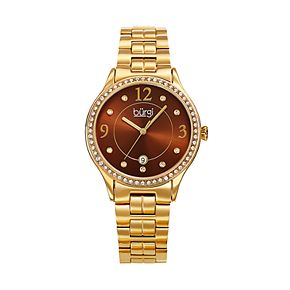 burgi Women's Crystal Accent Stainless Steel Watch