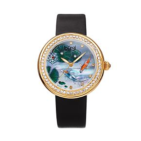 burgi Women's Koi Pond Crystal Accent Leather Watch