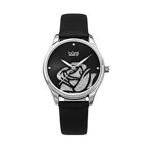burgi Women's Diamond Accent & Glitter Flower Leather Watch