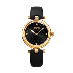 burgi Women's Diamond Accent Leather Watch