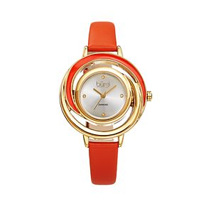 burgi Women's Diamond Accent Open Swirl Leather Watch