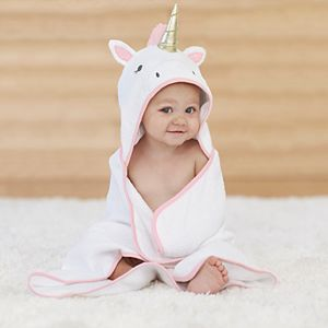 Baby Girl Just Born Unicorn Hooded Towel