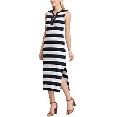 Women's Chaps White and Navy Striped Knit Dress