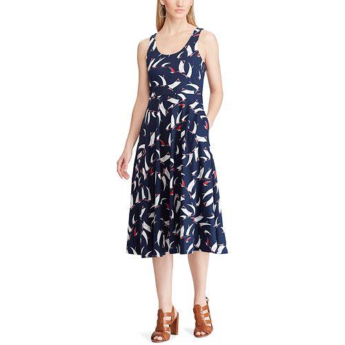 Women's Chaps Print Fit & Flare Midi Dress