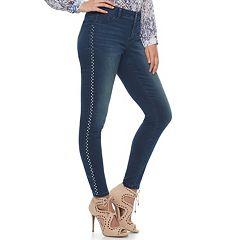 Women's Jennifer Lopez Embellished Midrise Skinny Jeans