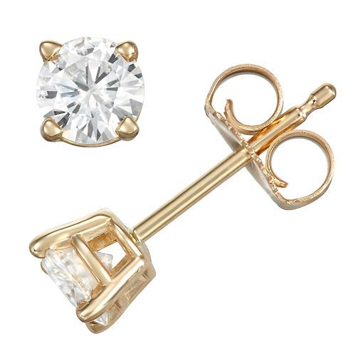 14k Gold 1/2 Carat T.W. Lab-Created Moissanite Solitaire Stud Earrings