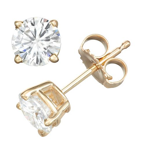 14k Gold 1 Carat T.W. Lab-Created Moissanite Solitaire Stud Earrings
