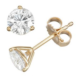 14k Gold 1 Carat T.W. Lab-Created Moissanite Solitaire 3-Prong Stud Earrings