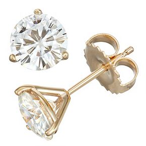 14K White Gold 2 C.T. T.W. Lab-Created Moissanite Solitaire 3-Prong Stud Earrings