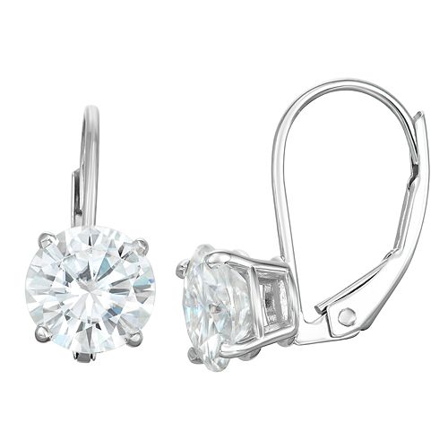 14K Gold 1 Carat T.W. Solitaire Lab-Created Moissanite Leverback Earrings