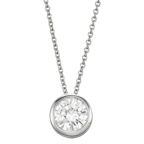 14k Gold 1 Carat T.W. Lab-Created Moissanite Bezel Solitaire Pendant Necklace