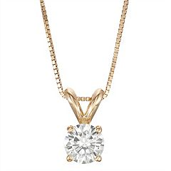 14k Gold 1/2 Carat T.W. Lab-Created Moissanite Solitaire Pendant Necklace