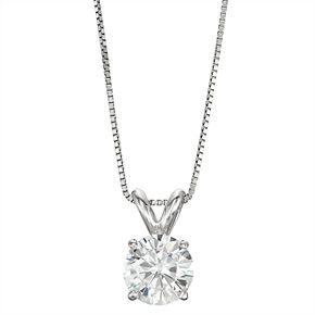 14k Gold 1 Carat T.W. Lab-Created Moissanite Solitaire Pendant Necklace