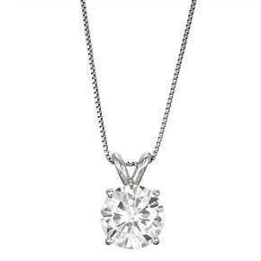 14k Gold 1 9/10 Carat T.W. Lab-Created Moissanite Solitaire Pendant Necklace