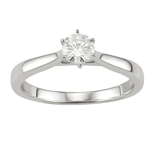 14K Gold 1/2 Carat T.W. Lab-Created Moissanite 6-Prong Solitaire Ring
