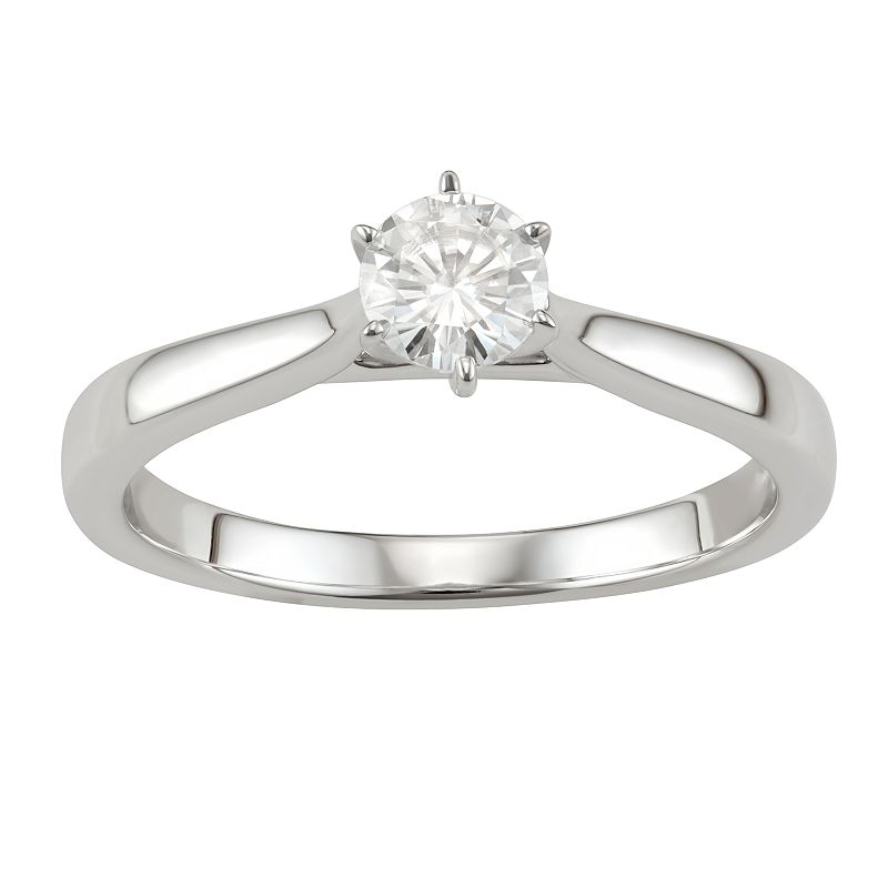 14K Gold 1/2 Carat T.W. Lab-Created Moissanite 6-Prong Solitaire Ring, Women's, Size: 9, White -  Kohl's