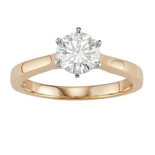 14K Gold 1 Carat T.W. Lab-Created Moissanite 6-Prong Solitaire Ring