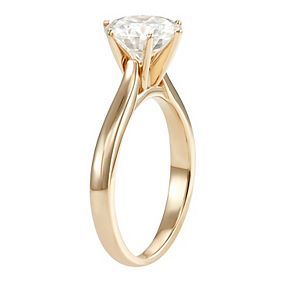 14k Gold 1 9/10 Carat T.W. Lab-Created Moissanite 6-Prong Solitaire Ring
