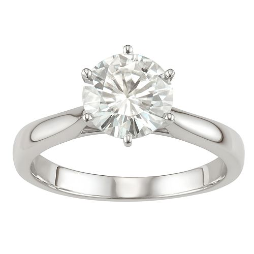 8d1e677253c2e 14k Gold 1 9/10 Carat T.W. Lab-Created Moissanite 6-Prong Solitaire Ring