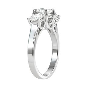14k Gold 2 Carat T.W. Lab-Created Moissanite Three-Stone Ring