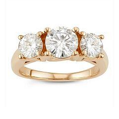 14k Gold 2 Carat T.W. Lab-Created Moissanite Three-Stone Ring