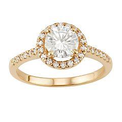 14k Gold 1 1/3 Carat T.W. Lab-Created Moissanite Round Halo Ring