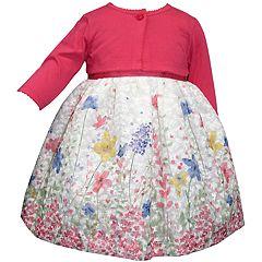 Baby Girl Blueberi Boulevard Floral Print Dress & Long Sleeve Cardigan