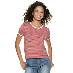 Juniors' Pink Republic Striped Knit Tee