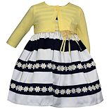 Baby Girl Blueberi Boulevard Striped Daisy Dress & Cardigan Set