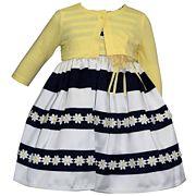 Baby Girl Blueberi Boulevard Striped Daisy Dress & Cardigan Set