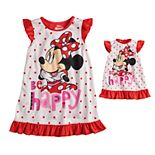 Disney's Minnie Mouse Toddler Girl Ruffled Dorm Nightgown & Matching Doll Nightgown