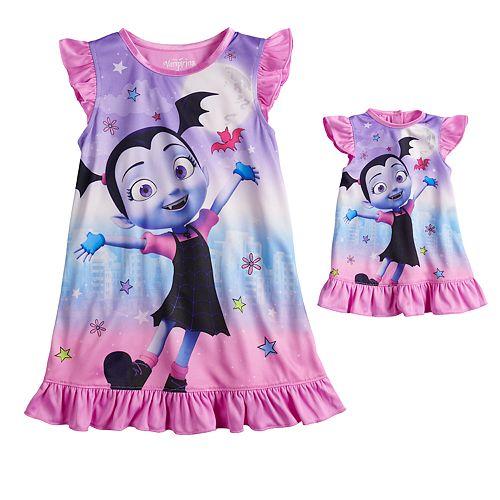 Disney's Vampirina Toddler Girl Ruffled Dorm Nightgown & Matching Doll Nightgown