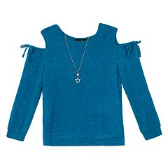 Girls 7-16 IZ Amy Byer Long Sleeve Cold Shoulder Top & Necklace Set