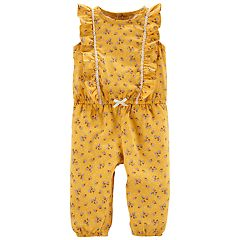 Learned Girl's Jumpsuit Romper Yellow Floral Pretty Set Size 6-9 Months Baby & Toddler Clothing