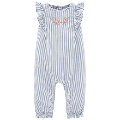 Baby Girl Carter's Striped Embroidered Jumpsuit