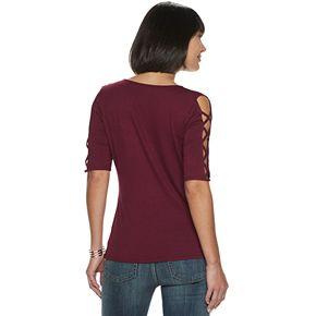 Women's Rock & Republic® Lace-Up Sleeve Top