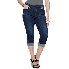 aad3e22b Plus Size Jennifer Lopez Capri Jeans. Black Dark Indigo Medium Wash White