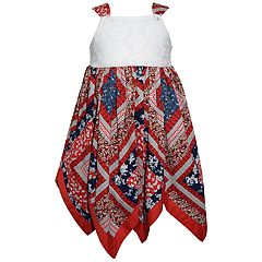 Baby Girl Blueberi Boulevard Patriotic Handkerchief-Hem Dress