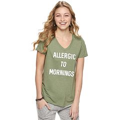 Juniors' 'Allergic to Mornings' Graphic Tee