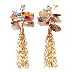 TREND Multicolored Disc & Tassel Drop Earrings