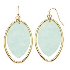 TREND Aqua Oval Hoop Drop Earrings