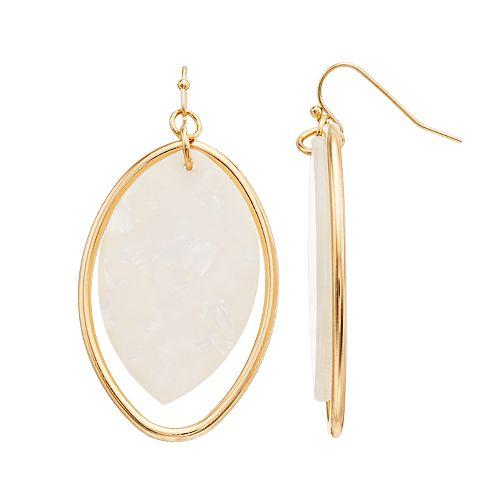TREND Pink Oval Hoop Drop Earrings