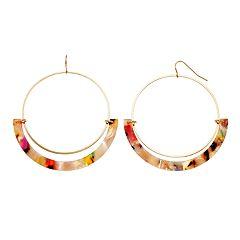 TREND Multicolored Curved Bar & Hoop Drop Earrings